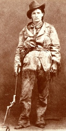 Calamity Jane a famous gambler is pictured here with a gun