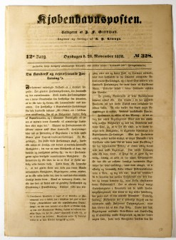 Scan of the front page of an 1838 Danish newspaper
