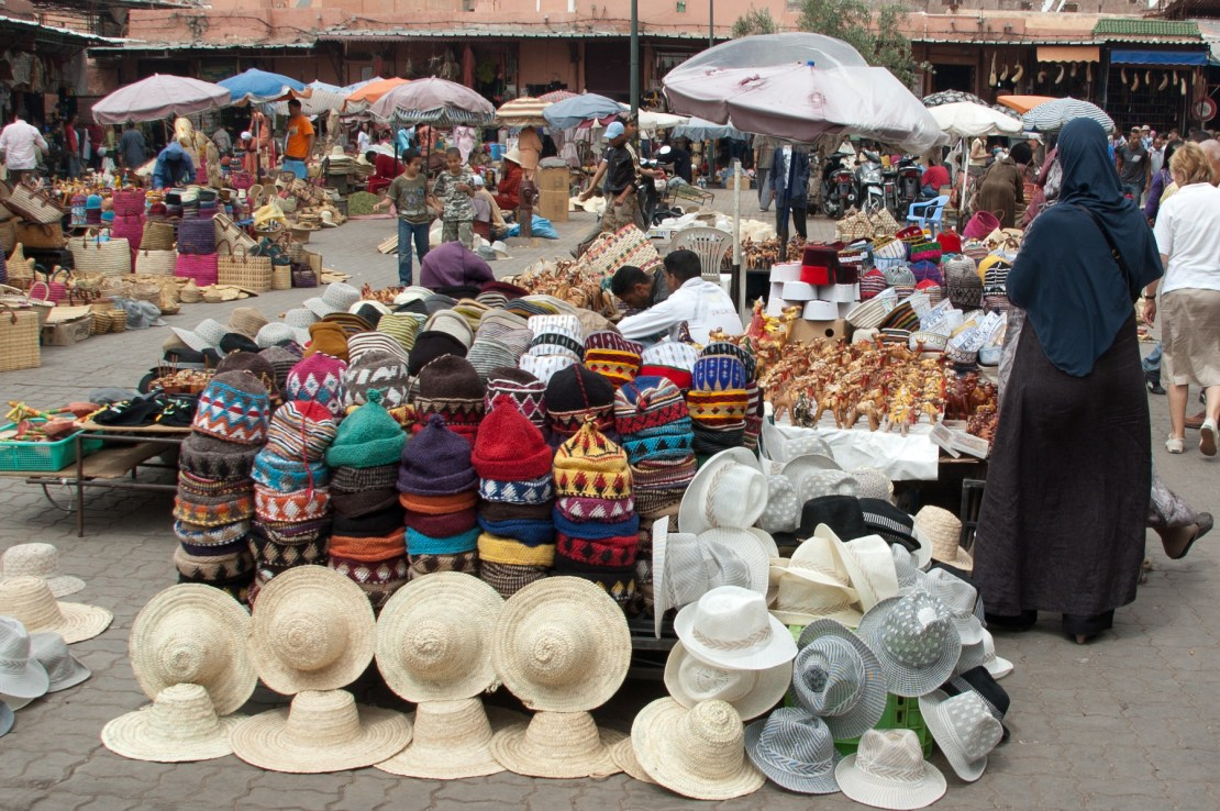 Marrakech boasts hundreds of markets with handmade arts and crafts