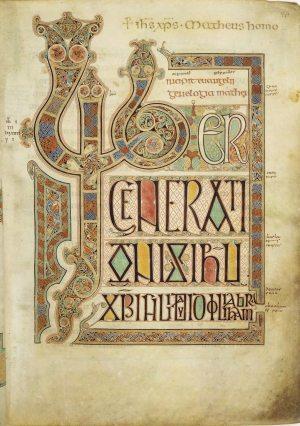 Matthew Incipit; By Eadfrith of Lindisfarne (presumed) [Public domain], via Wikimedia Commons.