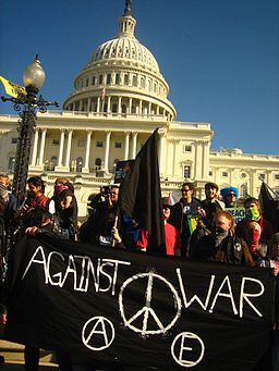 J27 black bloc at US Capitol with black banner