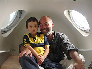 A father and his son inside a hyperbaric oxyge...