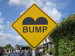 Speed bump sign at Philip S. W. Goldson Intern...