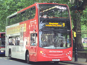 Bus on Colmore Row, Birmingham, England.
