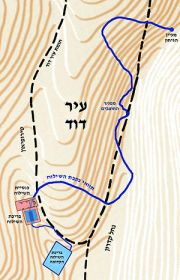 English: Hezekiah's Tunnel map עברית: מפת נקבת...