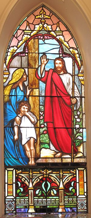 English: Stained Glass depiction of Revelation...