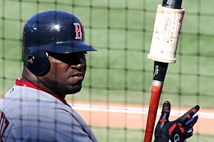 David Ortiz, mid warm up, turns back to the crowd.