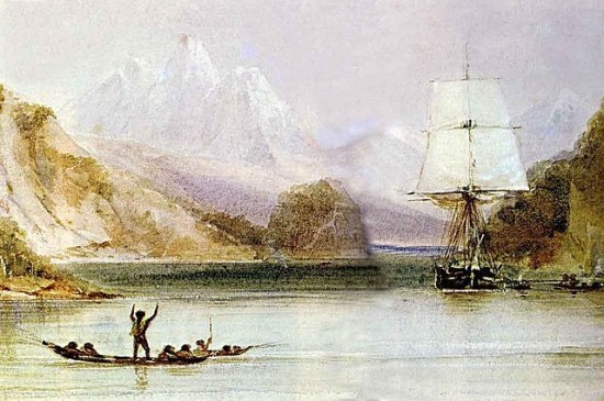 HMS Beagle in the Seaways of Tierra del Fuego by Conrad Martens, from the Illustrated Origin of Species, abridged and illustrated by Richard Leaky