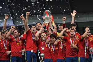 List of UEFA European Championship finals   Wikipedia Spain national football team Euro 2012 trophy 02 jpg
