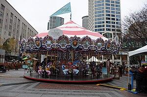 English: Carousel set up in Westlake Park, Sea...