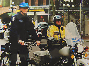 Vancouver police officers from the bicycle and...