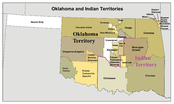 Oklahoma and Indian Territory map, circa 1890s...