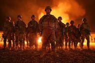 A bonfire lit the sky of Babil Province, as no...