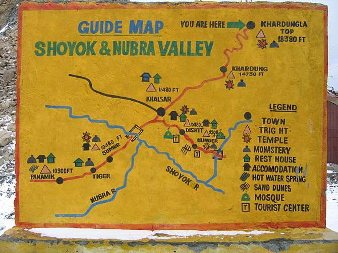 English: Shoyok and Nubra Valley handpainted m...