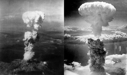 Two aerial photos of atomic bomb mushroom clouds, over two Japanese cities in 1945.