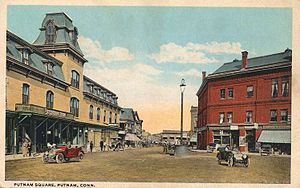 English: Postcard picture of Putnam Square in ...