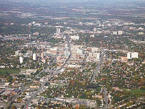 English: Aerial photo of downtown Kitchener, O...