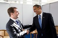 President Obama meets President Medvedev at th...
