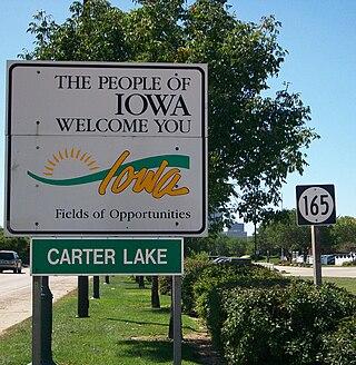 Carter Lake Iowa Welcome Sign courtesy of wikipedia