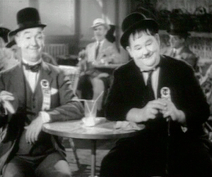 Stan Laurel and Oliver Hardy in the opening sc...