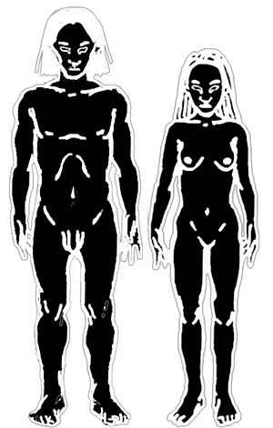 A male human and a female human.
