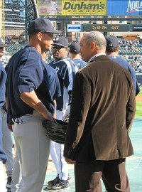 Alex Rodriguez of the New York Yankees talks w...