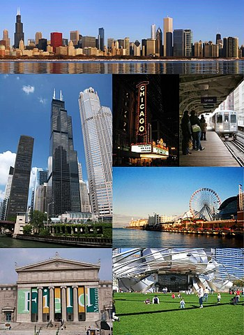 English: From top left: Downtown Chicago, the ...