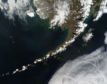 Satellite picture of the Aleutian Islands and ...