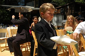 Little boy in a suit solemnly carries wedding ...