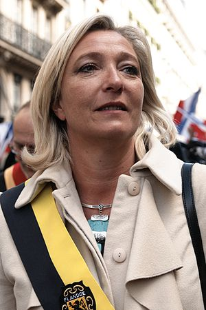 English: Marine Le Pen at the 1st of May Natio...