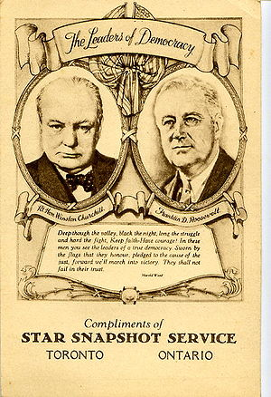 Old postcard of &quot;The Leaders of Democracy...