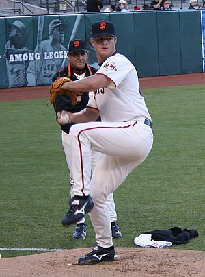 Matt Cain of the San Francisco Giants warming ...