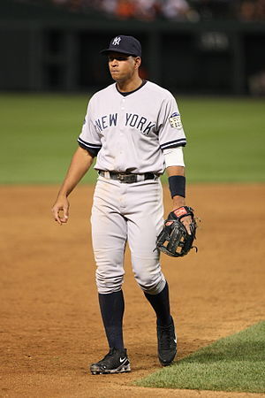 Alex Rodriguez in the field for a game on May ...