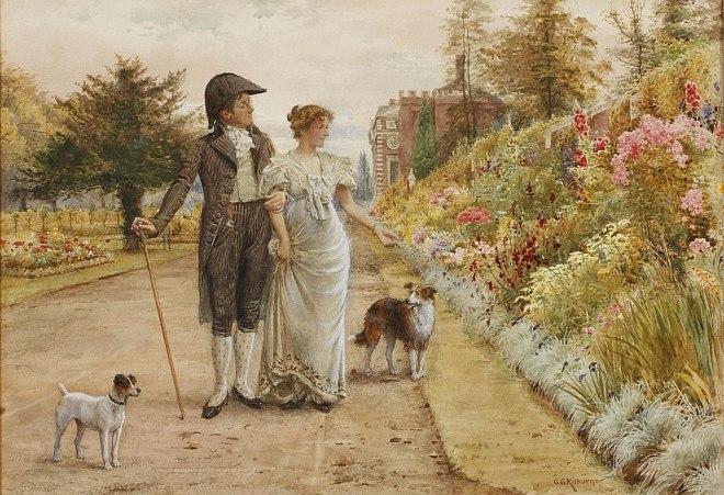 George Goodwin Kilburne A garden stroll