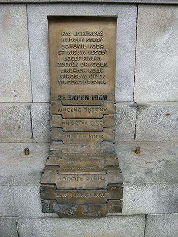 English: Liberec Townhall, Memorial to victims...