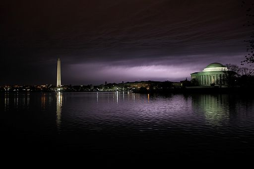 Lightning in the clouds over Washington DC