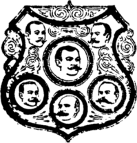 English: Shield of men with mustaches