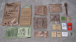 An MRE contains a main course, side dish, brea...