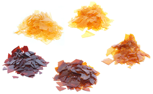 English: Some different varieties of shellac f...