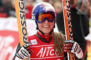 English: Lindsey Vonn wins a World Cup in Cran...