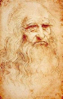 Self-portrait of Leonardo da Vinci. Red chalk....