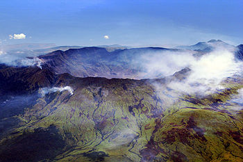 English: Aerial view of the caldera of Mt Tamb...