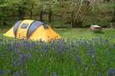 English: Dinas camping Tent near stream at Din...