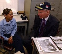 350px US Navy 050412 N 4776G 028 Internal Revenue Service Commissioner Mark Everson speaks with Electronics Technician 3rd Class Dana Alba about the efficiency of the Veteran Individual Tax Assistance %28VITA%29 program aboard USS Ronald