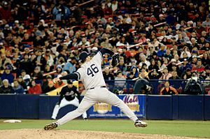 Andy Pettitte pitching at Shea Stadium.