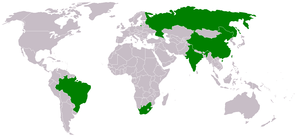 English: The BRICS - Brazil, Russia, India, Ch...