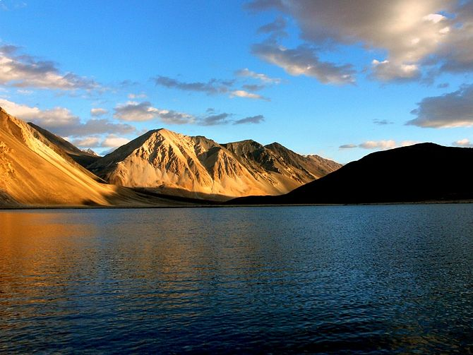 Pangong tso in Ladakh, India is the highest sa...