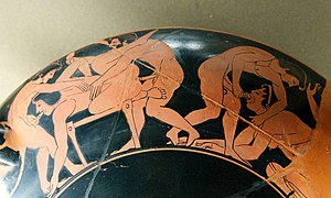 Erotic scene. Rim of an Attic red-figure kylix...