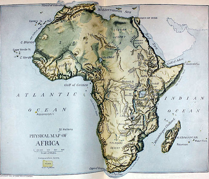 The New International Encyclop    dia Africa   Wikisource  the free     NIE 1905 Africa   physical map jpg