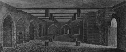 A monochrome illustration of a stone and brick-walled room. An open doorway is to the right. The left wall contains equally spaced arches. The right wall is dominated by a large brick arch. Three arches form the third wall, in the distance. The floor and ceiling is interrupted by regularly spaced hexagonal wooden posts. The ceiling is spaced by wooden beams.